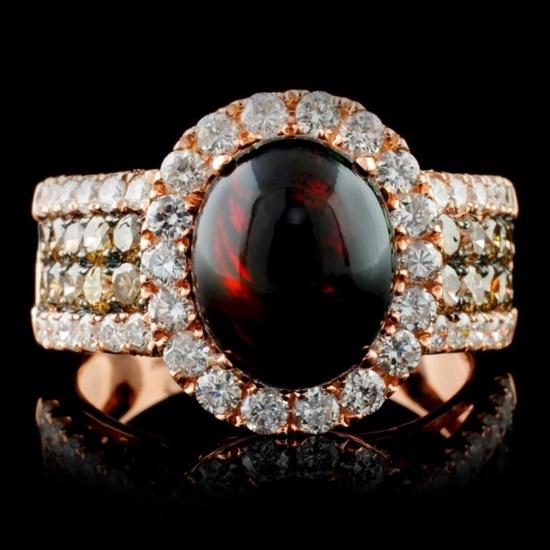 14K Rose Gold 2.38ct Opal & 1.90ct Diamond Ring
