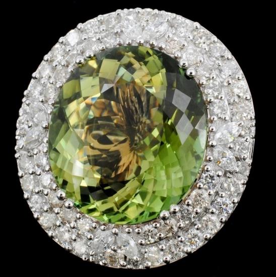 18K Gold 18.03ct Tourmaline & 2.05ct Diamond Ring