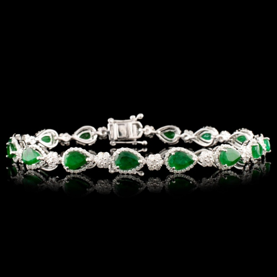 14K Gold 5.47ct Emerald & 1.83ctw Diamond Bracelet