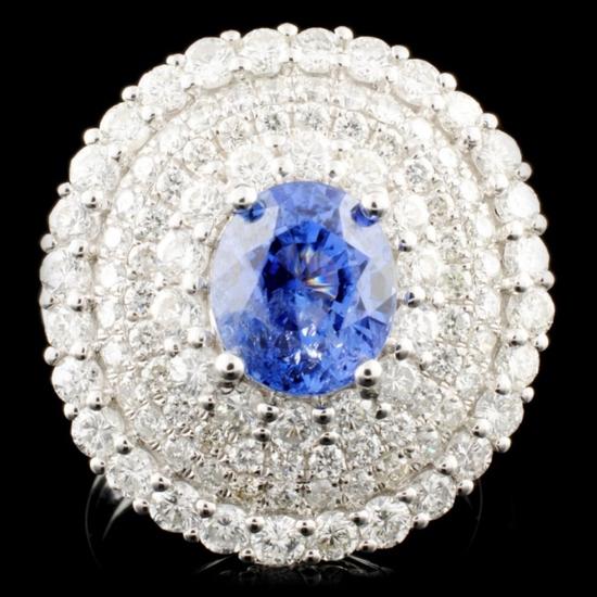 18K Gold 2.71ct Sapphire & 2.52ctw Diamond Ring