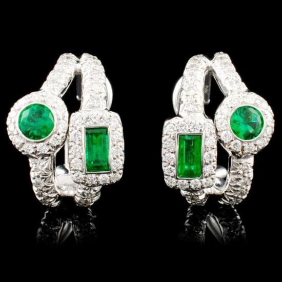 18K Gold 0.87ct Emerald & 0.76ctw Diamond Earrings