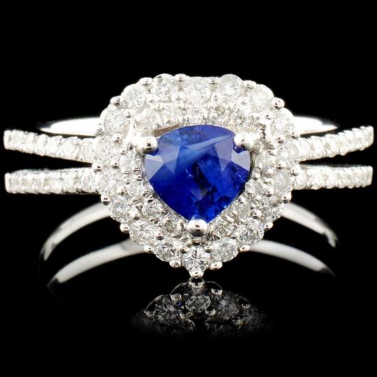 18K Gold 1.95ct Sapphire & 0.29ctw Diamond Ring