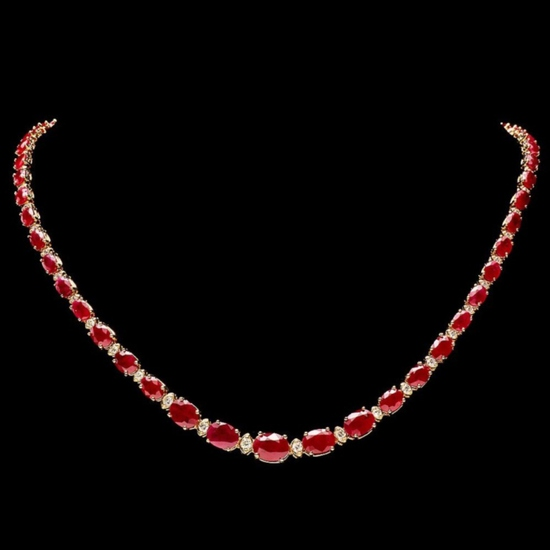 14k Gold 30.00ct Ruby & 1.50ct Diamond Necklace