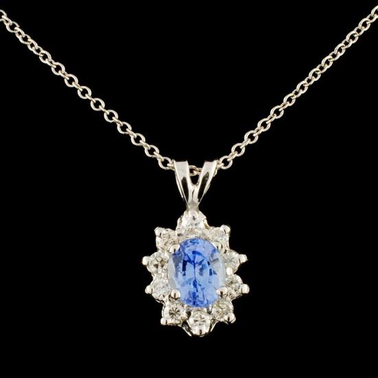 14K Gold 0.78ct Sapphire & 0.28ctw Diamond Pendant