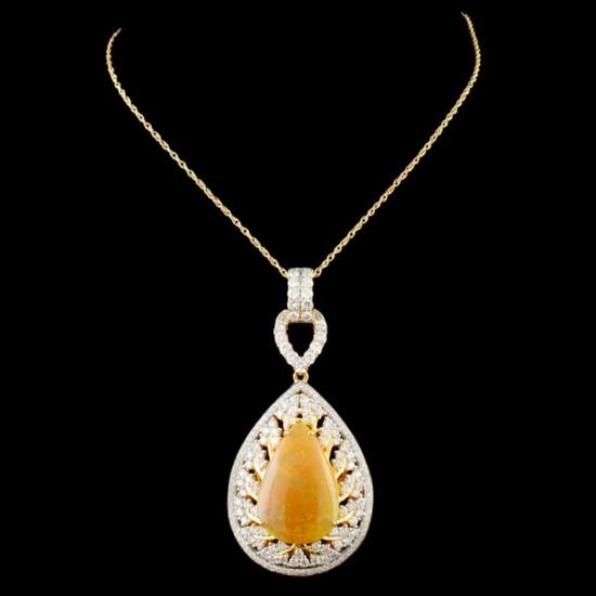 18K Gold 7.28ct Opal & 1.88ctw Diamond Pendant
