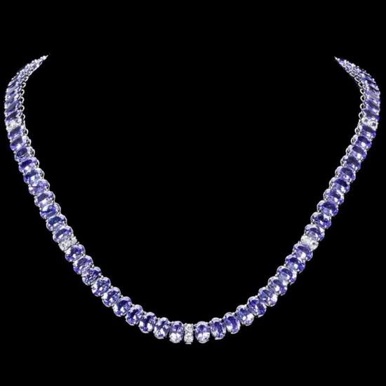 14k Gold 55.00ct Tanzanite & 1.35ct Diamond Neckl
