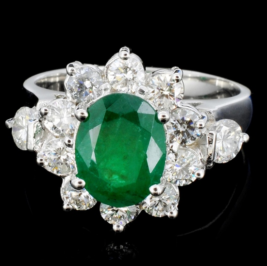 14K Gold 3.00ct Emerald & 1.20ctw Diamond Ring