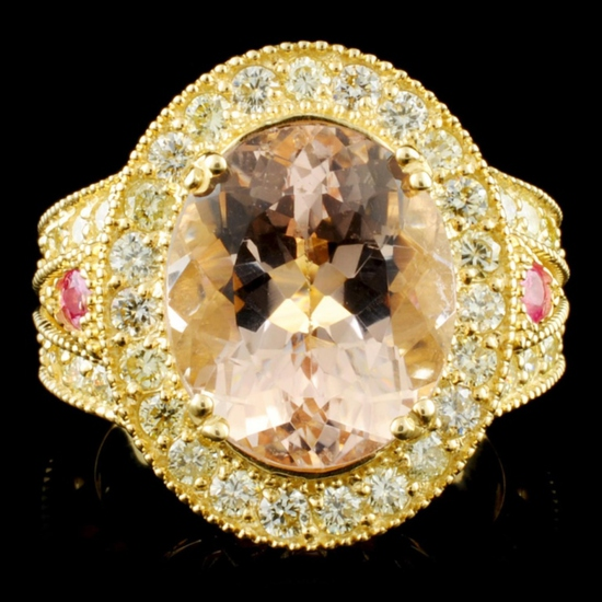14K Gold 6.16ct Morganite & 1.51ctw Diamond Ring