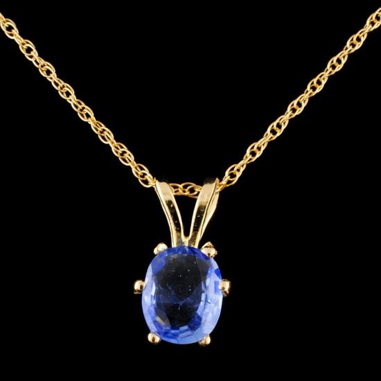 14K Gold 1.13ctw Sapphire Pendant