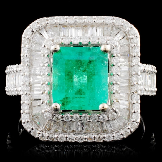 18K Gold 1.69ct Emerald & 1.35ctw Diamond Ring