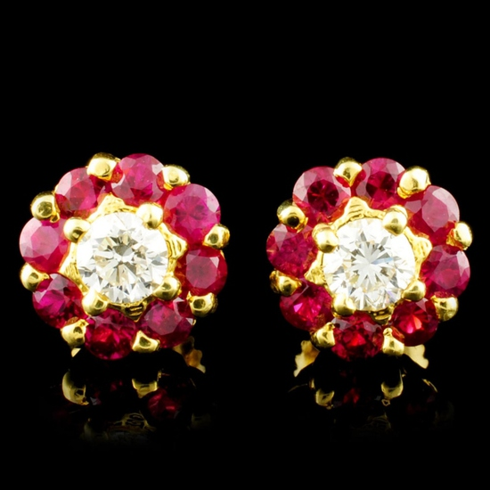 18K Gold 1.30ctw Ruby & 0.49ctw Diamond Earrings