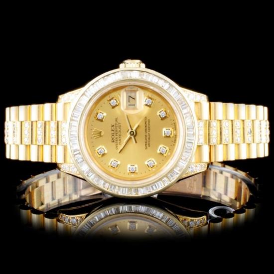 Rolex 18K YG DateJust 4.00ct Diamond Ladies Watch