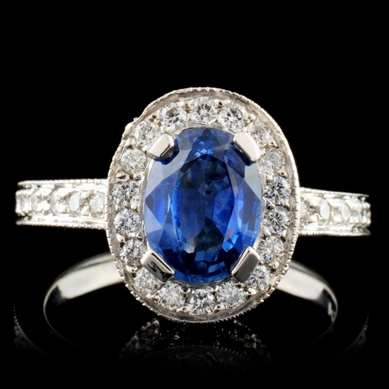 14K White Gold 1.32ct Sapphire & 2.23ct Diamond Ri