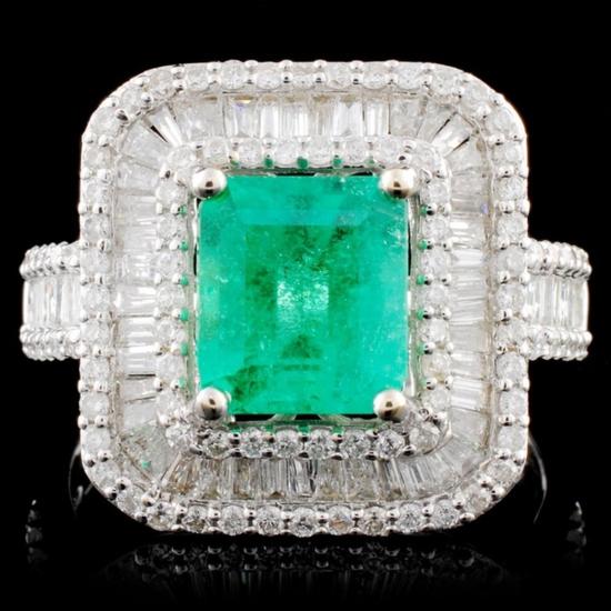 18K Gold 1.69ct Emerald & 1.35ctw Diamond Ring