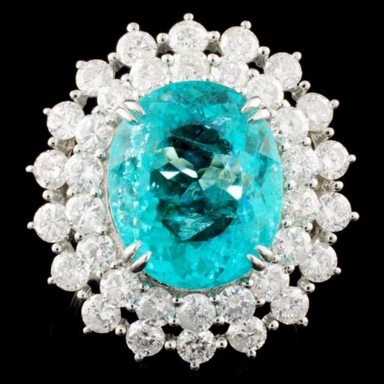 18K Gold 7.94ct Paraiba & 2.83ctw Diamond Ring