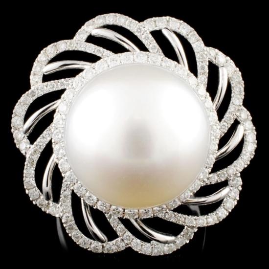 18K Gold 15.00MM Pearl & 1.02ctw Diamond Ring