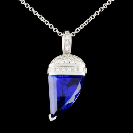 18K Gold 8.39ct Tanzanite & 0.84ctw Diamond Pendan