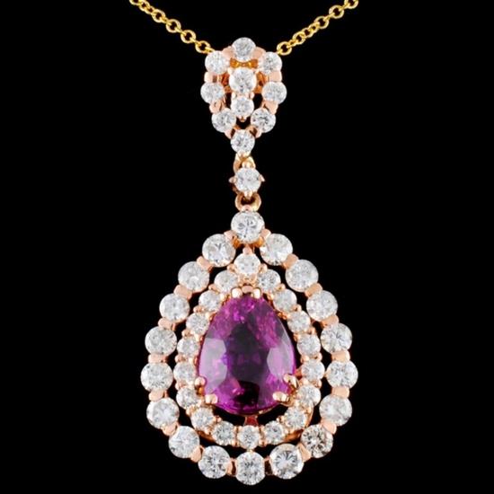 18K Gold 2.99ct Sapphire & 1.77ctw Diamond Pendant
