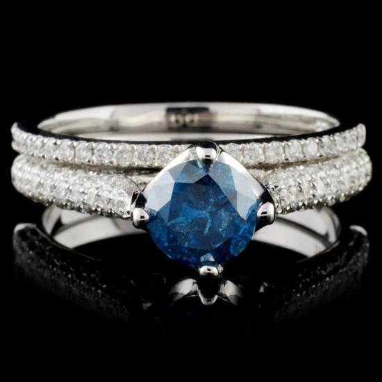 14K White Gold 1.48ctw Fancy Color Diamond Ring