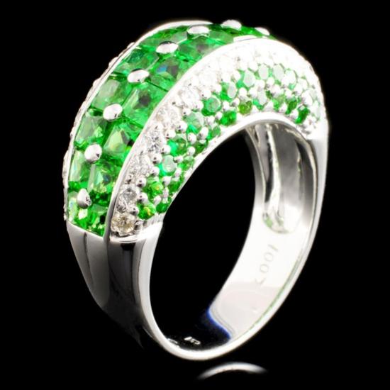 18K Gold 4.63ctw Tsavorite & 0.58ctw Diamond Ring