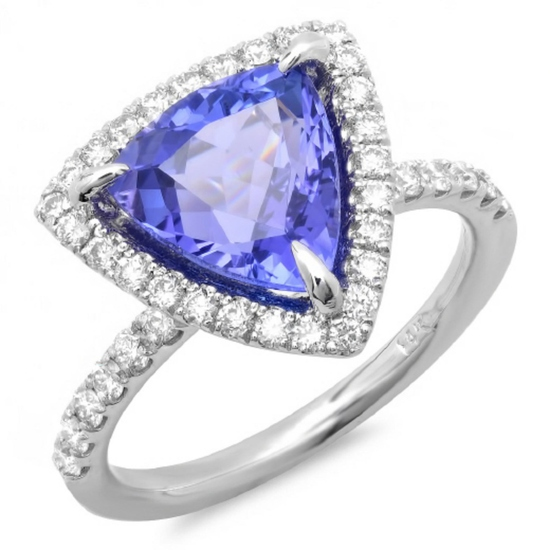 14K Gold 3.50ct Tanzanite & 0.60ct Diamond Ring