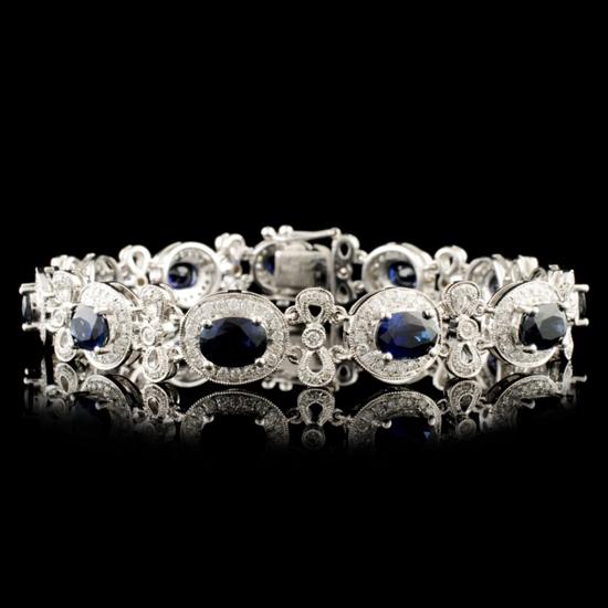 18K Gold 10.28ct Sapphire & 1.76ctw Diamond Bracel