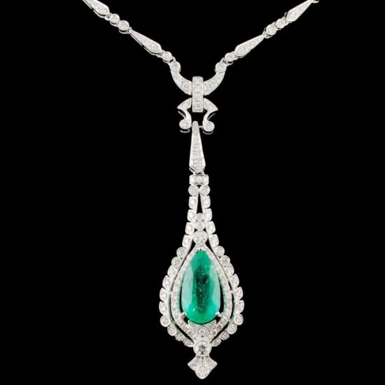 18K Gold 6.50ct Emerald & 2.74ctw Diamond Necklace