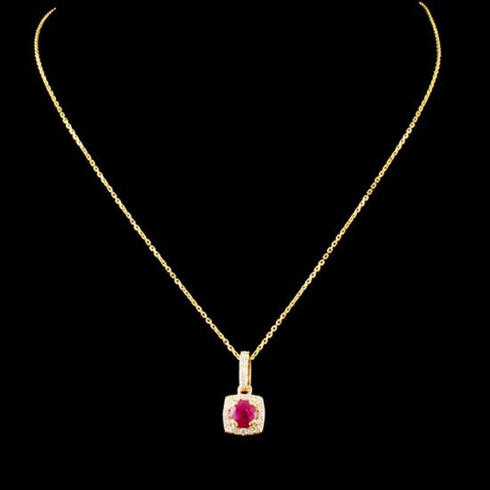 14K Gold 0.46ct Ruby & 0.18ctw Diamond Pendant