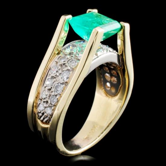 14K Gold 1.26ct Emerald & 0.50ctw Diamond Ring