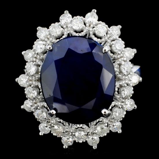 14K Gold 7.00ct Sapphire & 1.00ctw Diamond Ring
