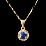 14K Gold 0.60ct Spinel & 0.13ctw Diamond Pendant