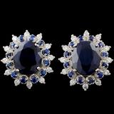 14K Gold 8.00ct Sapphire & 0.50ctw Diamond Earring