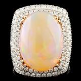 14K Gold 9.50ct Opal & 1.35ctw Diamond Ring
