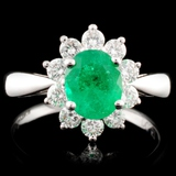 18K Gold 1.01ct Emerald & 0.57ctw Diamond Ring