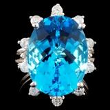 14K Gold 11.14ct Topaz & 0.42ctw Diamond Ring