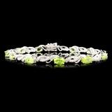 14K Gold 5.41ct Peridot & 0.32ctw Diamond Bracelet