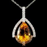 14K Gold 5.15ct Citrine & 0.71ctw Fancy Diamond Pe