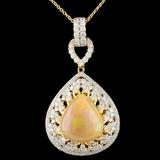 18K Gold 7.47ct Opal & 1.90ctw Diamond Pendant