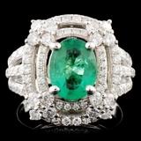 14K Gold 1.26ct Emerald & 1.28ctw Diamond Ring
