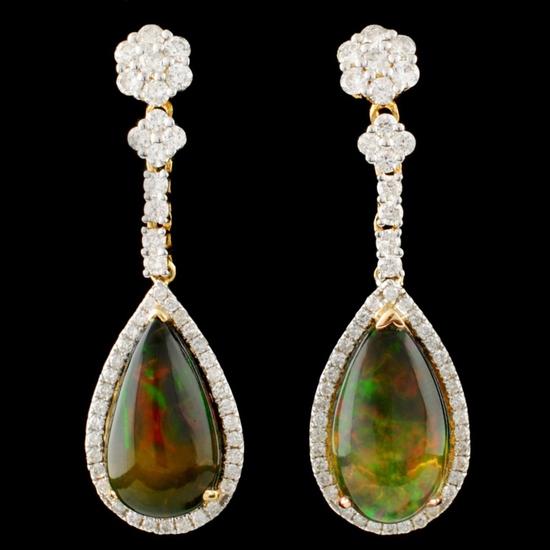 14K Gold 5.14ct Opal & 1.08ctw Diamond Earrings