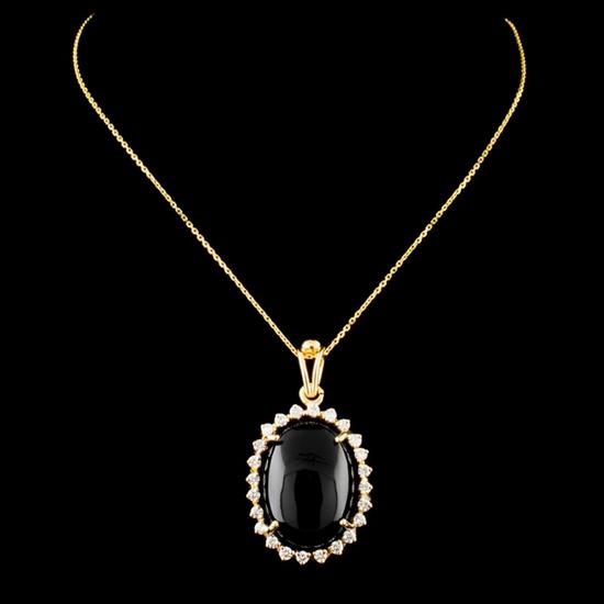 14K Gold Onyx & 0.41ctw Diamond Pendant
