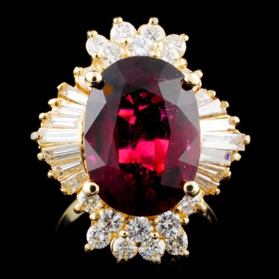 14K Gold 6.08ct Tourmaline & 1.43ctw Diamond Ring