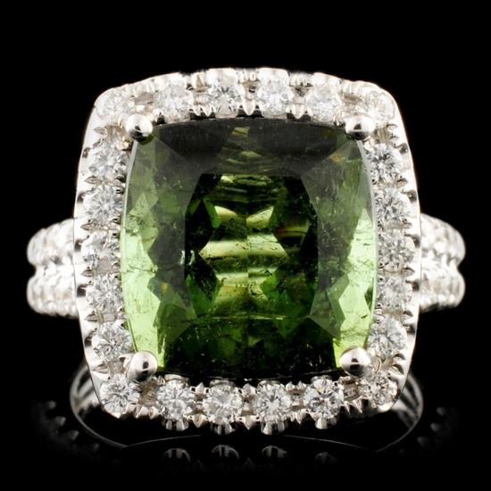 14K Gold 7.23ct Tourmaline & 1.17ctw Diamond Ring