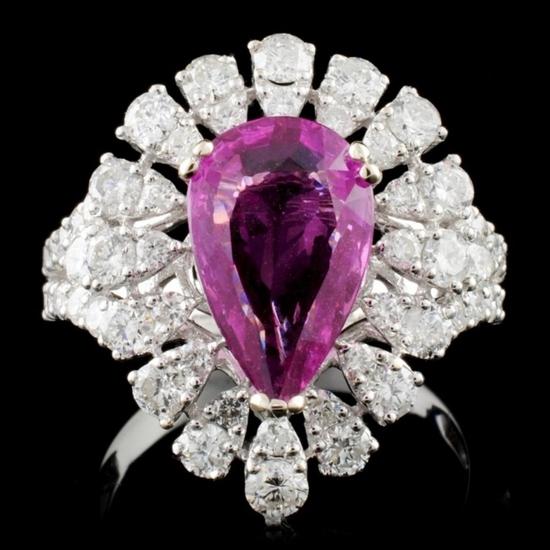18K W Gold 2.92ct Sapphire & 1.68ct Diamond Ring
