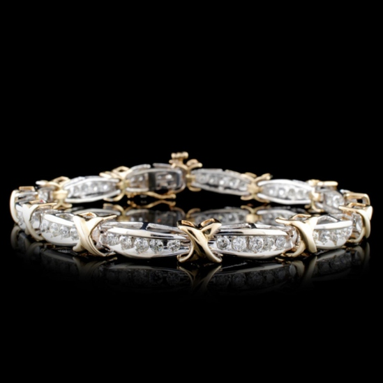 14K Two-Tone 2.68ctw Diamond Bracelet