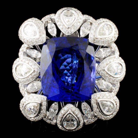 18K Gold 17.56ct Tanzanite & 3.50ctw Diamond Ring
