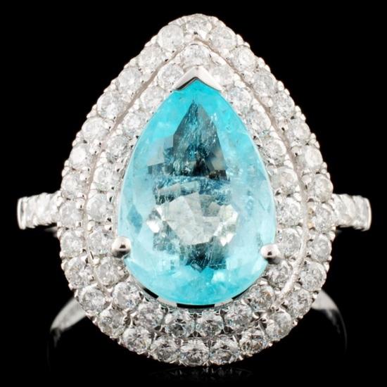 18K Gold 2.65ct Tourmaline & 0.80ctw Diamond Ring