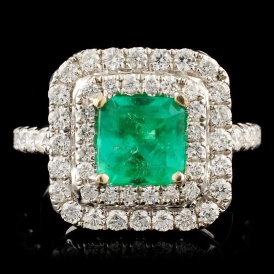 18K Gold 1.63ct Emerald & 0.98ctw Diamond Ring