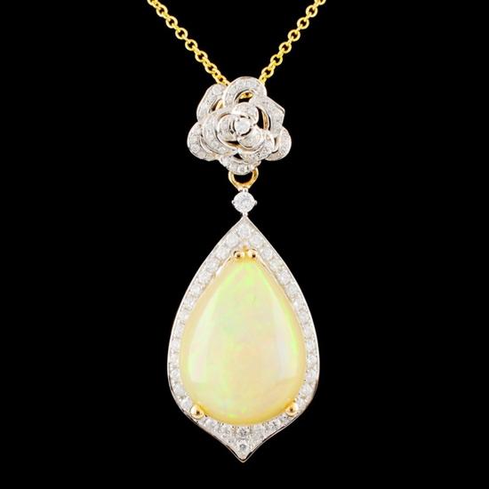 14K Gold 6.37ct Opal & 0.61ctw Diamond Pendant