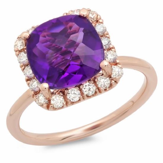 14K Gold 3.00ct Amethyst & .35ct Diamond Ring